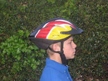 Boy wearing a cycle helmet correctly