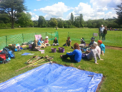 Trench side teaching session at Rufford Abbey field school July 2014