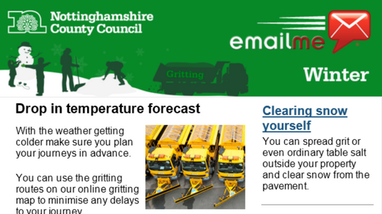 Screenshot of an email newsletter about gritting and winter weather