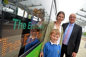 Eco buses. Pupil who named bus with Cllr Cottee.JPG