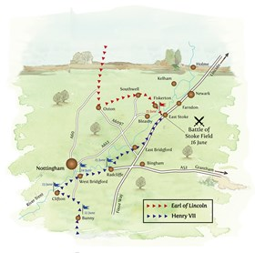 Map showing the route of the opposing armies to the Battle of Stoke Field