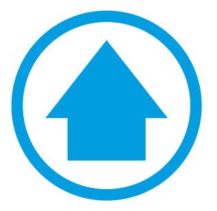 Blue arrow in a blue circle