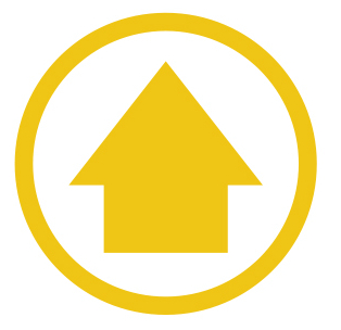 Yellow arrow in a yellow circle
