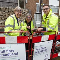 Councillor Kay Cutts (left) launches the Openreach Fibre First roll-out in Notts