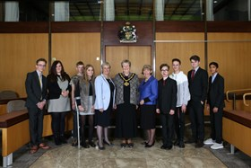 The 2018 4Uth finalists pictured with Nottinghamshire County Council's Chairman Councillor Sue Saddington and Leader Councillor Kay Cutts