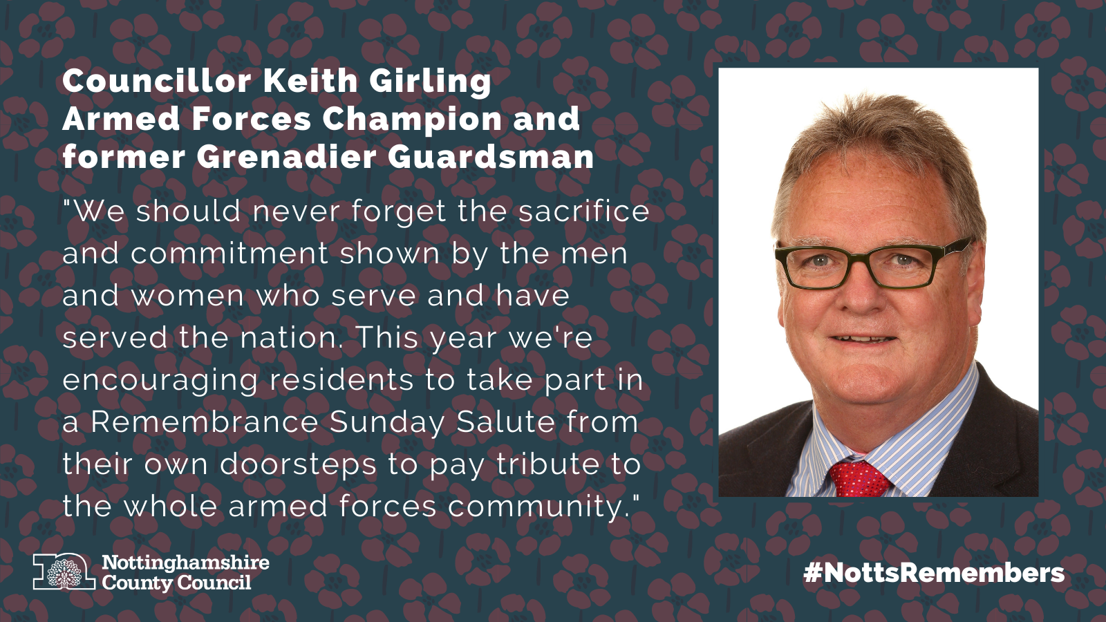 Cllr Girling image and quote for remembrance day