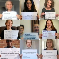 Photos of foster carers and staff sharing #WhyWeCare messages